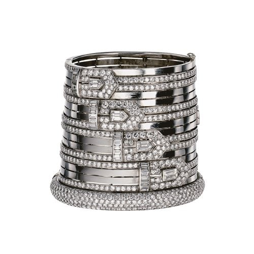 Cuff bracelet, platinum and diamonds, signed Lacloche Frères, 1930. Private Collection. Courtesy of Stephen Russell, New York. Photo Oliver Tabanera for Stephen Russell.